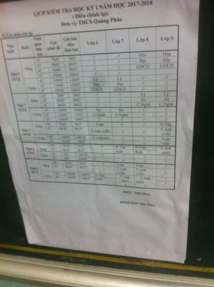 lịch thi học kỳ I